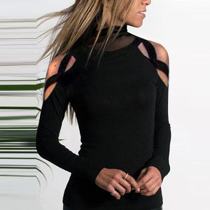 Turtle Neck Mesh Patchwork Hollow Out Long Sleeve T-Shirts-T-shirt-PMS-Black-s-Gofiala