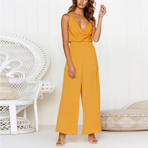 Fashion Sexy V Neck Sling Pure Color Jumpsuits-PMS-Yellow-s-Gofiala