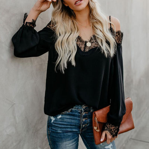 Spaghetti Straps Lace Patchwork Long Sleeve Blouses-Blouse-PMS-Black-s-Gofiala
