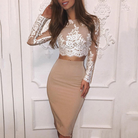 Fashion Lace Shirt And Pure Colour Skirt-Skirt-PMS-Beige-s-Gofiala