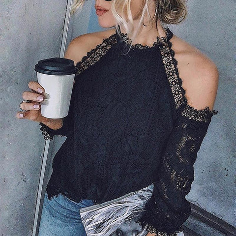 Elegant Lace Long Sleeve Off-Shoulder Shirt-T-Shirt-PMS-Black-s-Gofiala