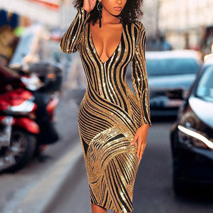 Sexy Deep V Sequins Striped Slim Bodycon Dresses-Bodycon Dress-PMS-Gold-s-Gofiala