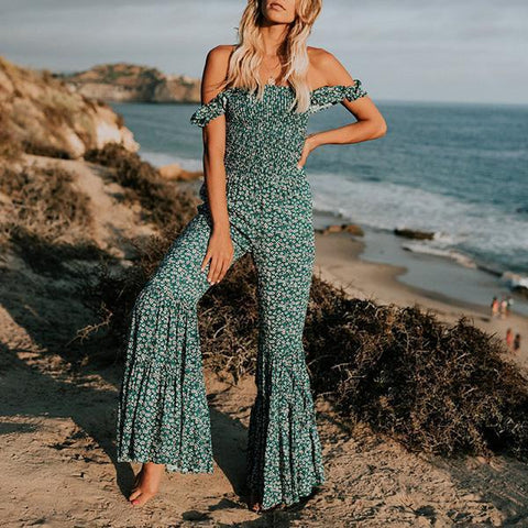 Sexy Backless Sleeveless Floral Jumpsuit Elastic Flared Pants-Jumpsuit-PMS-Green-s-Gofiala