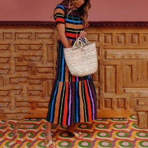 Round Neck Color Block Striped Maxi Dresses-vacation dress & maxi dress-PMS-Same As Photo-s-Gofiala