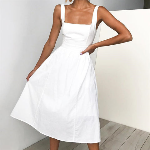 Sexy Open Backed Sling Dress-Skater Dress-PMS-White-s-Gofiala