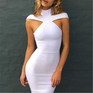 Sexy Shoulder Exposed Solid Color Dress-Evening Dress & Bodycon Dress-PMS-White-s-Gofiala