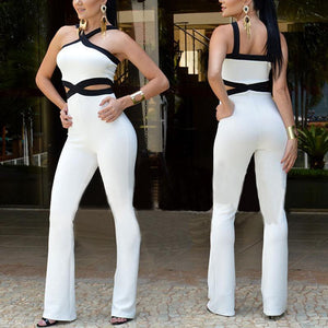 Casual Sexy Backless Slim Braces Bell Bottomed Pants Jumpsuit-Jumpsuit-PMS-White-s-Gofiala