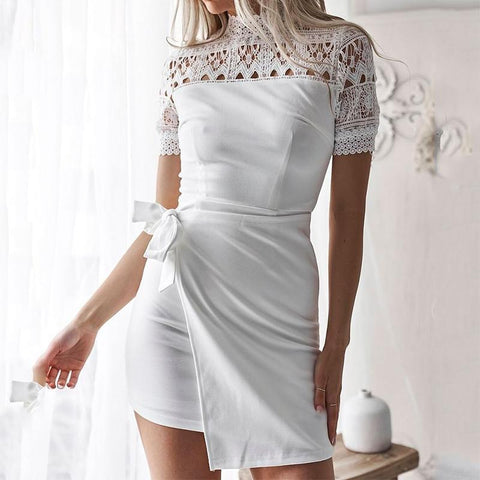 Fashion High Collar Lace Splicing Mini Dress-Evening Dress & Bodycon Dress-PMS-White-s-Gofiala