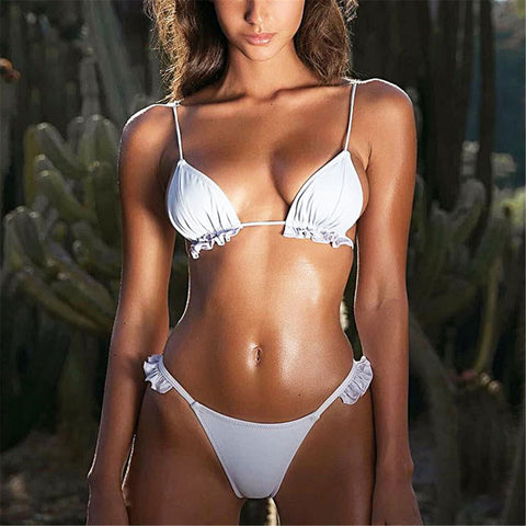 Lovely Plain Strappy Ruffled Embellished Bikini-swimwear-PMS-White-s-Gofiala