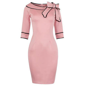 Color Block Bowknot Boat Neck Bodycon Dress-Bodycon Dress & Work Dress-PMS-Pink-s-Gofiala