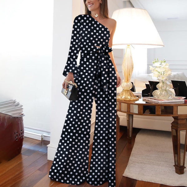 Fashion Pure Colour Off-Shoulder Polka Dot Jumpsuit-Jumpsuit-PMS-Black-s-Gofiala