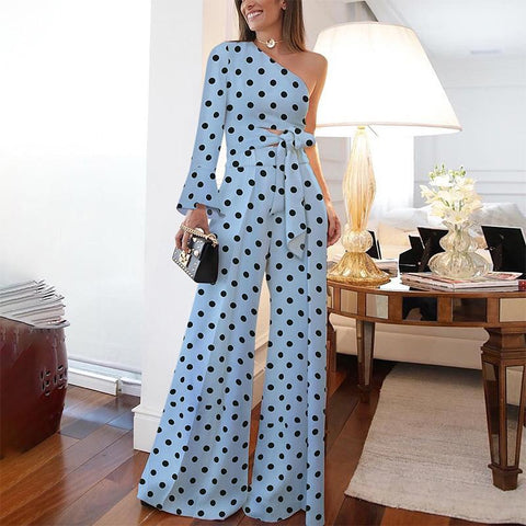 Fashion Pure Colour Off-Shoulder Polka Dot Jumpsuit-Jumpsuit-PMS-Blue-3xl-Gofiala