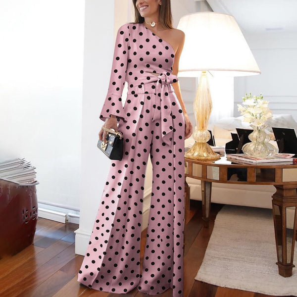 Fashion Pure Colour Off-Shoulder Polka Dot Jumpsuit-Jumpsuit-PMS-Pink-s-Gofiala