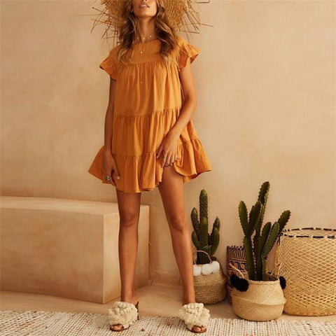 Round Neck Solid Color Cuff Flounce Decorated Dress-Mini Dress & Vacation Dress-PMS-Orange-m-Gofiala