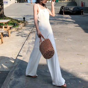 Sexy Fashion Solid Color Sling Jumpsuits-PMS-White-s-Gofiala