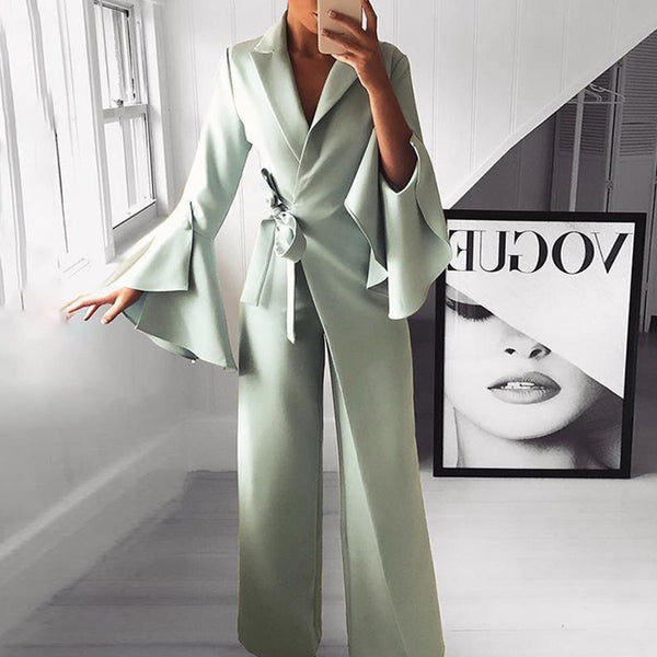 Fashion Pure Colour Bell Sleeve Jumpsuits-Jumpsuit-PMS-Green-l-Gofiala