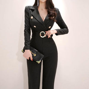 OL Temperament Suit Collar Striped Casual Jumpsuit-Jumpsuit-PMS-Black-s-Gofiala