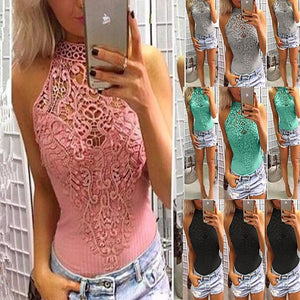 Sexy Lace Stitching Halter Pure Color Sleeveless Slim Bodysuit-bodysuit-PMS-Pink-s-Gofiala