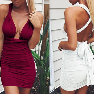 Sexy Bandage Tight-Fitting Backless Bodycon Dress-Bodycon-PMS-Claret Red-s-Gofiala