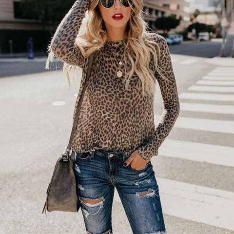 Leopard Print Top With Long Sleeves And Round Collar T-Shirt-T-shirt-PMS-Leopard Print-s-Gofiala