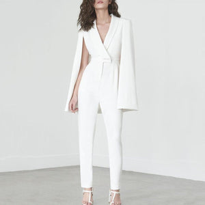 White Deep V Cape Sleeves Slinky Jumpsuit-Jumpsuit-PMS-White-s-Gofiala