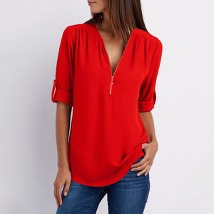 Polyester Women V-Neck Zips Plain Roll-Up Sleeve Long Sleeve Blouses-Blouse-PMS-Red-s-Gofiala