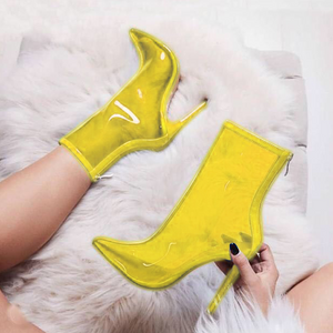 Colored transparent pointed boots-Boot-PMS-Yellow-35-Gofiala