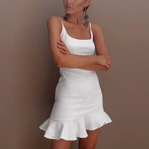 Spaghetti Strap Asymmetric Hem Backless Tiered Plain Casual Dresses-mini dress & bodycon dress-PMS-White-s-Gofiala