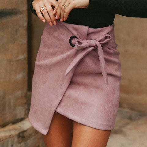 Suede Laced Irregular Skirt-Skirt-PMS-Pink-s-Gofiala
