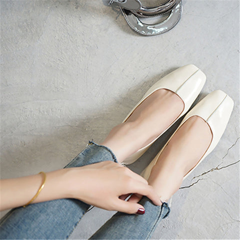 Retro square head low heels casual shoes-Flat-PMS-Beige-34-Gofiala