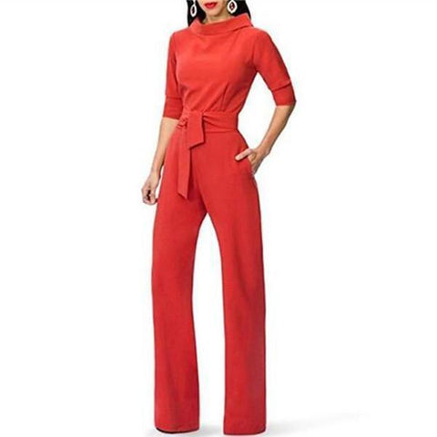 Pure Color Collars With Straight Tube Jumpsuits-Jumpsuit-PMS-Red-s-Gofiala
