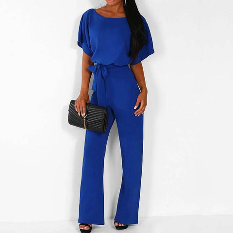 Fashionable Pure Color Round-Collared High-Waist Casual Jumpsuit