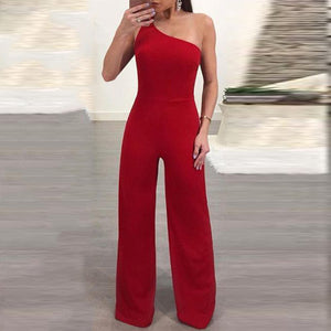 Casual Bare Back Pure Colour Elastic Jumpsuits-Jumpsuit-PMS-Red-s-Gofiala