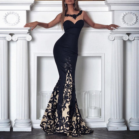 Sexy Lace Slim Sleeveless Evening Dresses