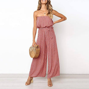 Strawless Striped Print Belt Jumpsuit