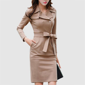 Formal Lapel Belt Solid-Color Bodycon Work Dress-Work Dress-PMS-Camel-s-Gofiala
