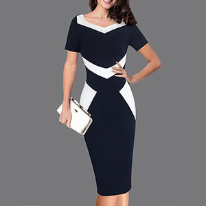 Square Neck Color Block Bodycon Dress-Work Dress-PMS-Black-6xl-Gofiala