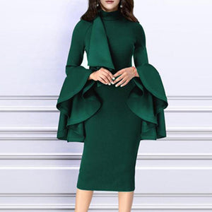Crew Neck Bust Darts Plain Bodycon Dress-bodycon dress & evening dress-PMS-Green-m-Gofiala