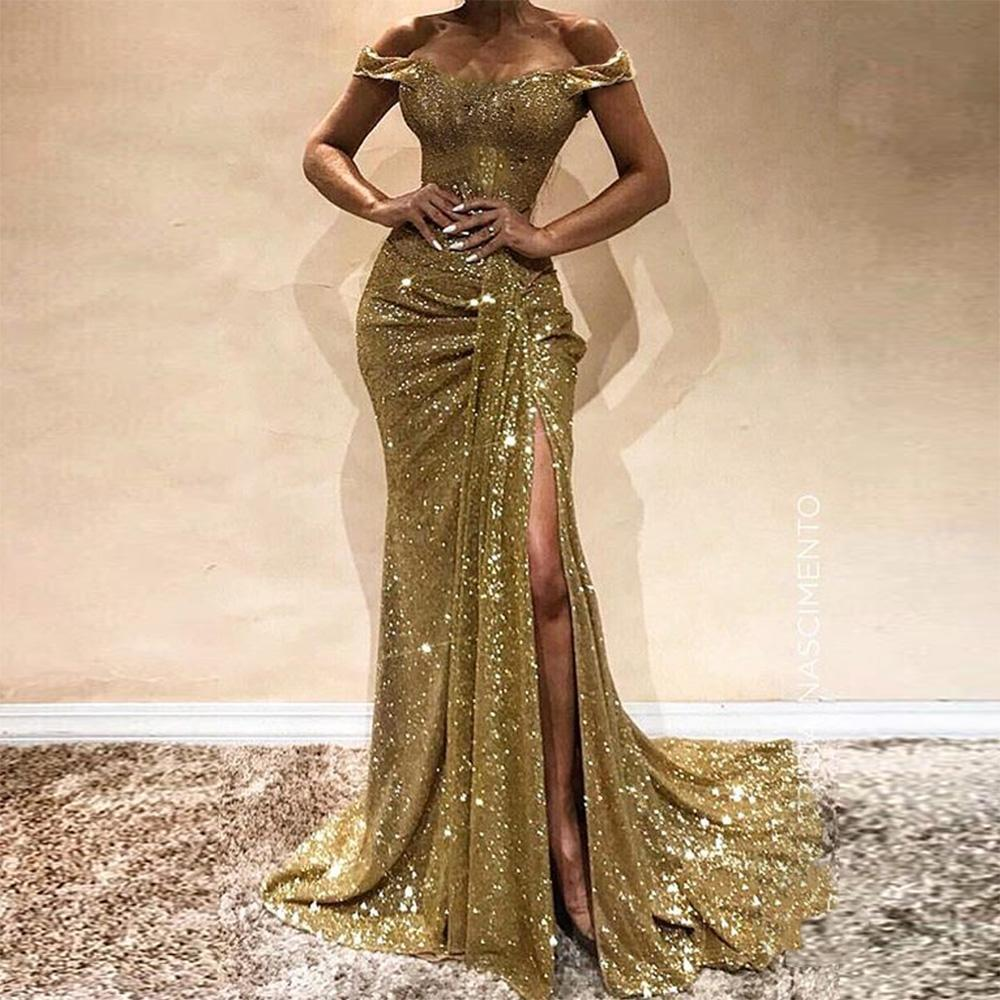 Sexy Sequin Off Shoulder Paillette Slim Evening Dress-Evening Dress-PMS-Gold-s-Gofiala