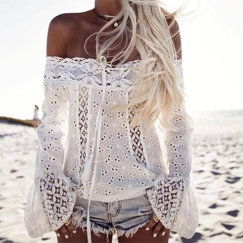 Lace Off Shoulder Mandarin Sleeve Top-T-shirt-PMS-White-s-Gofiala