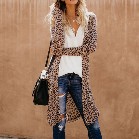 Collarless Leopard Print Outerwear-Coat-PMS-Leopard Print-s-Gofiala