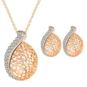 Rhinestone Hollow Necklace Earrings Set-Jewelry-PMS-Gold-one size-Gofiala