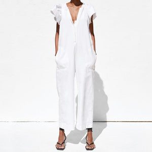 V-Neck Ruffled Pocket Cool Jumpsuit