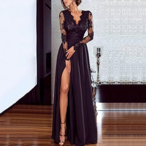 Pure Color Lace Evening Dress