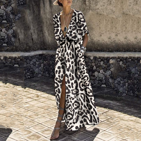 Sexy Deep V Collar Leopard Printed Maxi Dress-shift dress-PMS-Brown Leopard Print-s-Gofiala