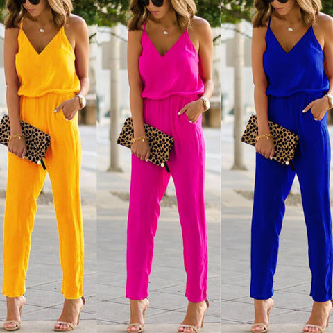 Fashion Pure Color Strap Sleeveless Jumpsuit-Jumpsuit-PMS-Yellow-m-Gofiala