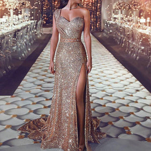 Sexy One Shoulder Sequined Dress-Evening Dress-PMS-Same As Photo-m-Gofiala