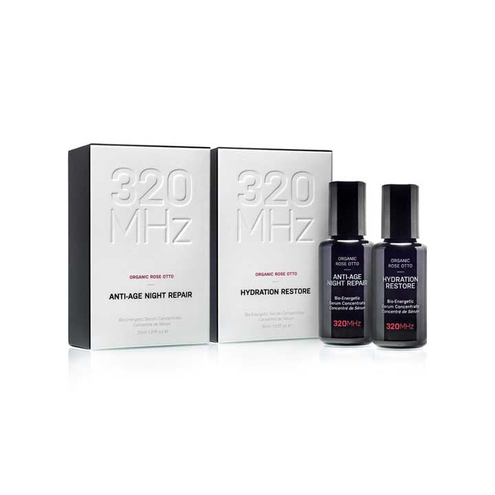 Gift Set Offer: Organic Rose Otto Anti-Age Night Repair & Hydration Restore Holistic Face Serums - SAVE £31