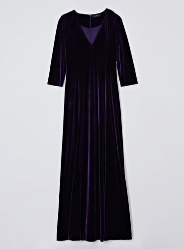 Kate Velvet Long Dress_Deep Purple