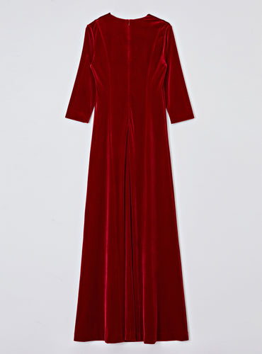 Kate Velvet Long Dress_Burgundy